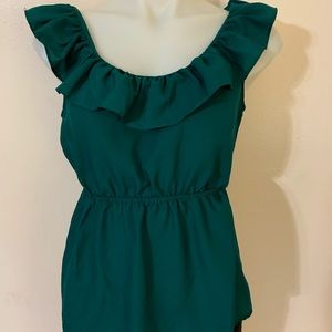 21 Green Ruffle Blouse Sz Small